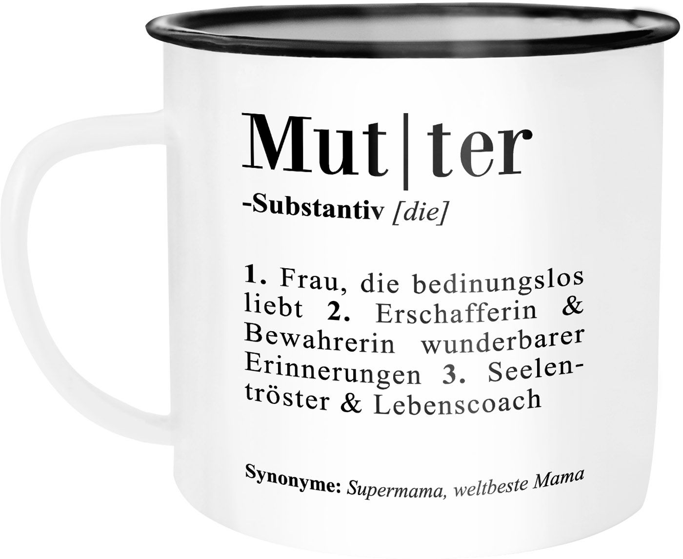 Emaille Tasse Becher Mama Definiation Worterbuch Dictionary Duden