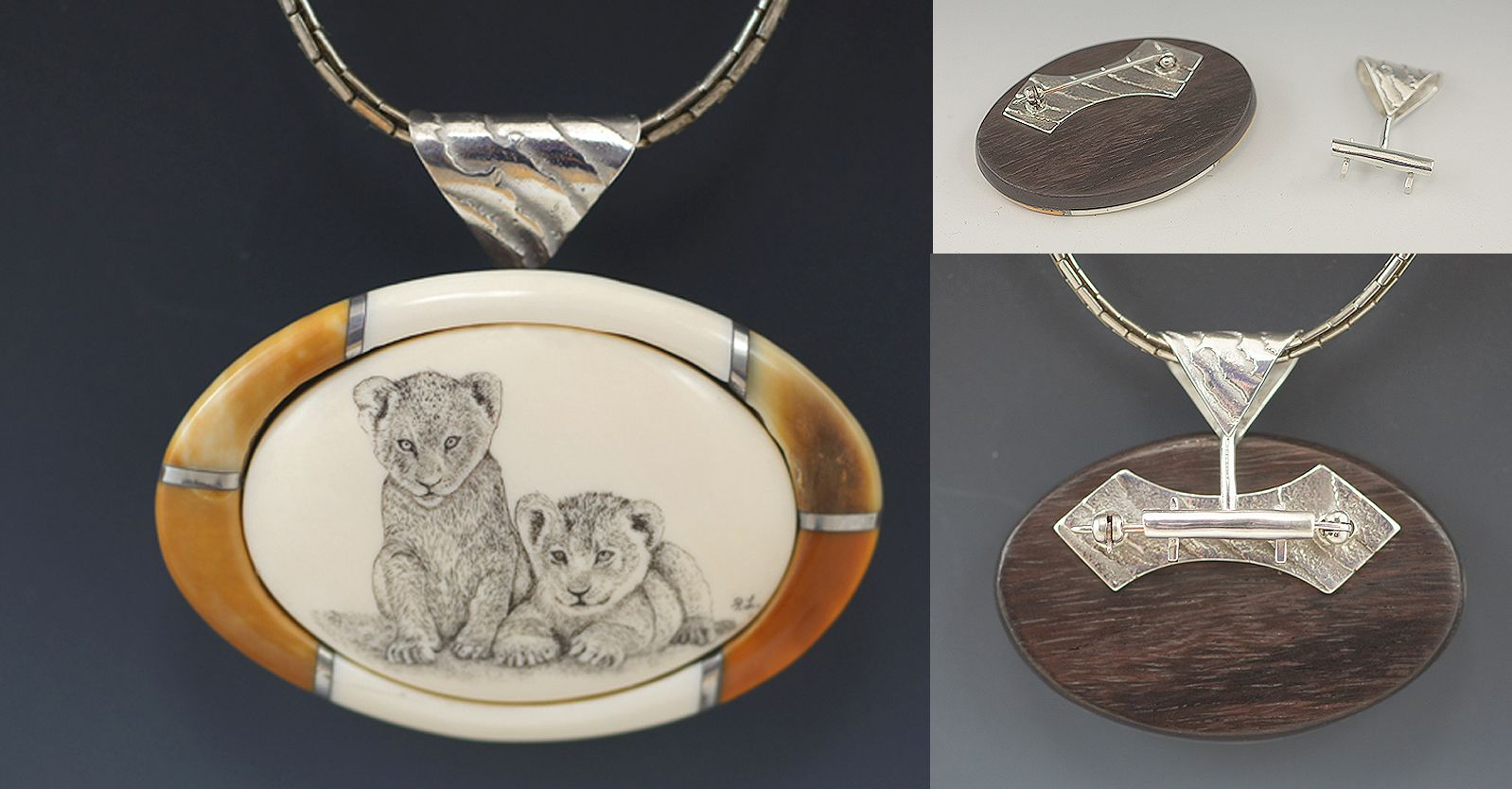 Ivory, Sterling Silver and Scrimshaw by Pete Lange