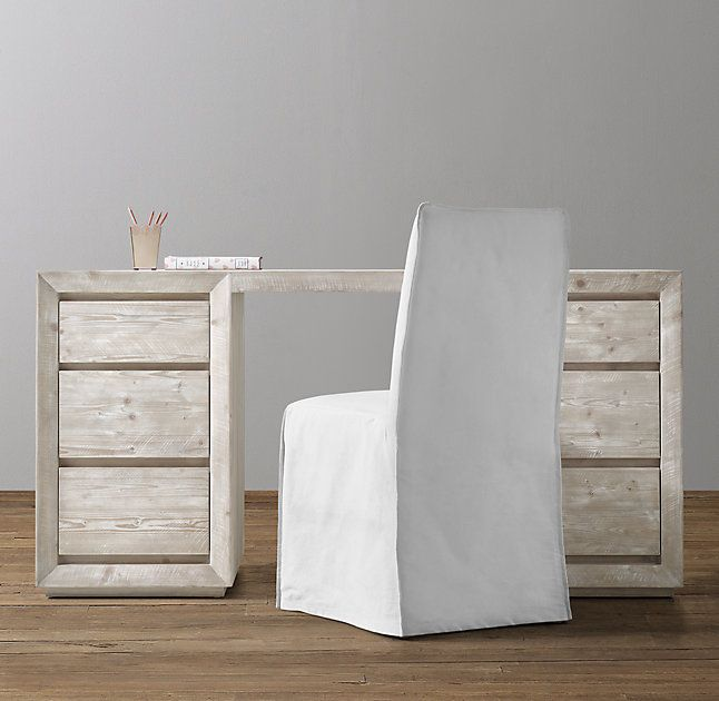 RH Baby & Child's Callum Storage Desk:Defined by its clean, contemporary lines bordered by a beveled and mitered frame, our Callum collection is artisan crafted and hand finished for an authentically time-worn appearance.