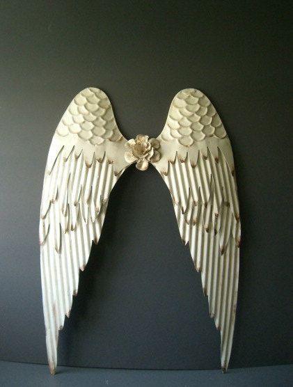 Angel Wings Wall Art angel wings. white angel wings wall decor. white w/ rustic edges