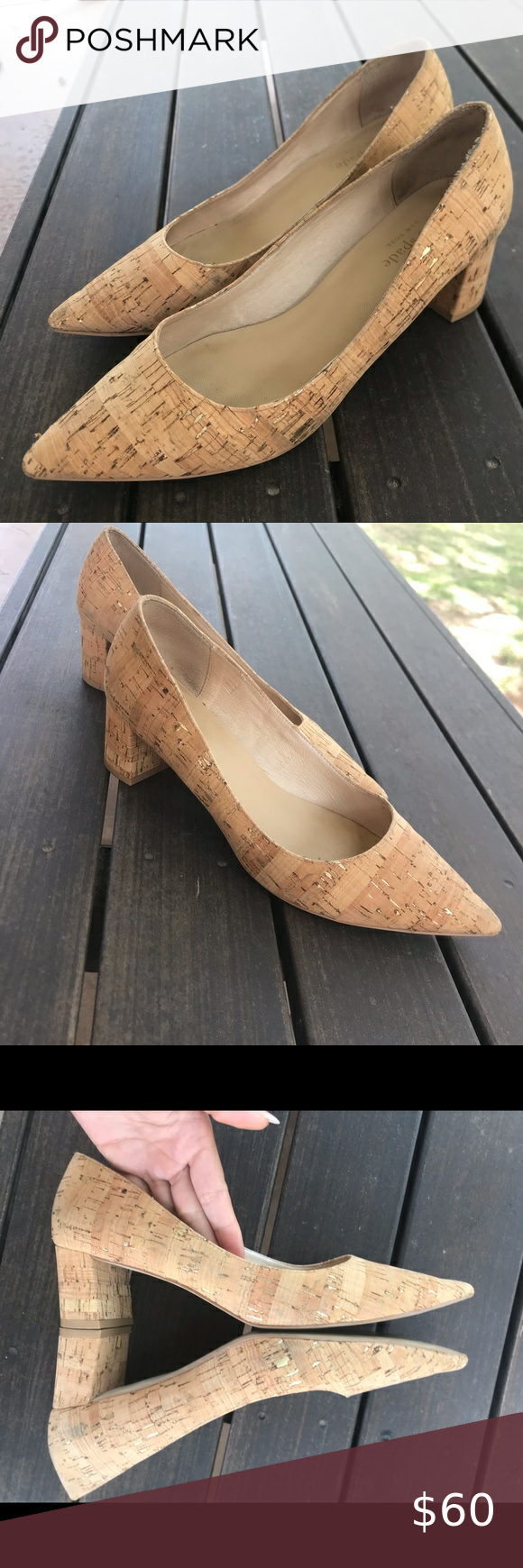 Kate Spade Cork Gold Fleck Kitten Heel Pumps In 2020 Kitten Heel Pumps Pumps Heels Shoes Women Heels