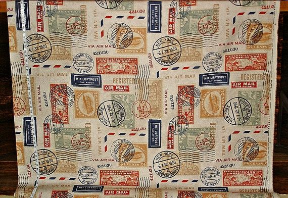 Travel Fabric Airmail Postage Stamp By BrickHouseFabrics
