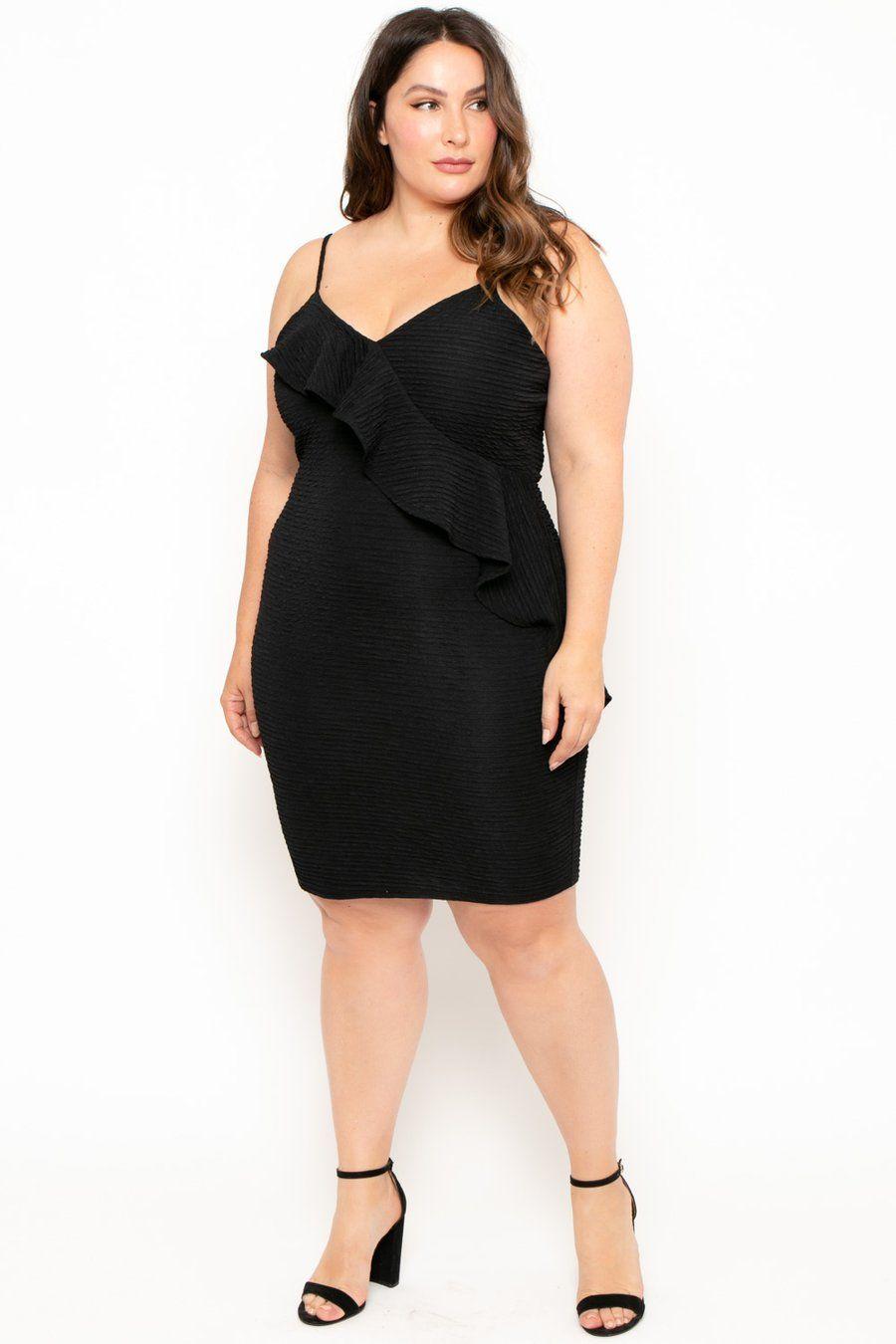 Plus Size Cascade Ruffle Dress Black Trendy plus size
