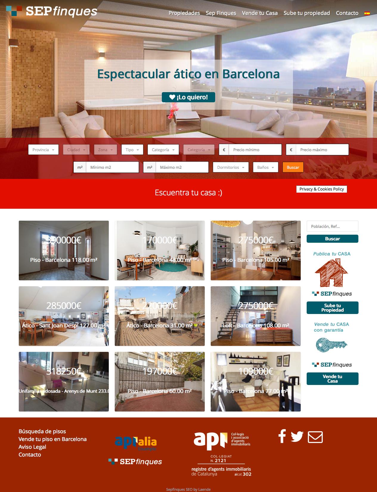 Web para Inmobiliaria SepFinques #laende #web #webdesign #inmobiliaria