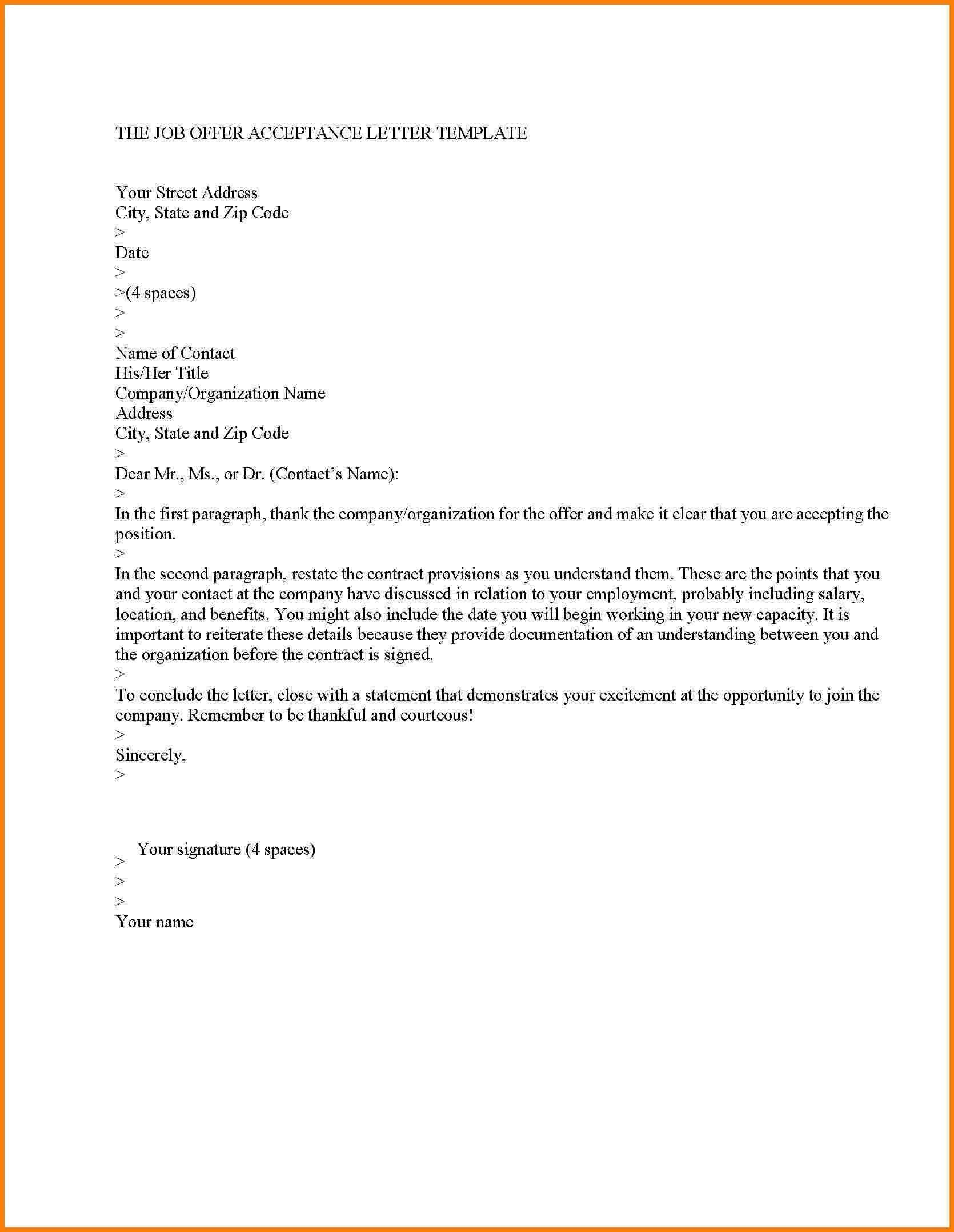 New Job Acceptance Letter Template Letter format sample