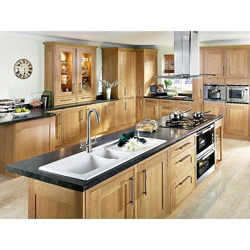 Kitchen Cabinets Wickes: Wickes Contemporary 1.5 Bowl Ceramic Sink White