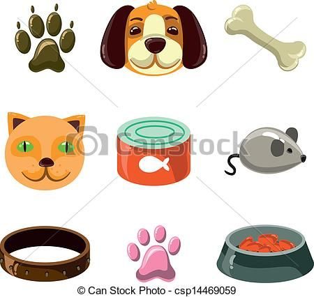Clipart Vector Of Cat And Dog With Toys And Food Vector