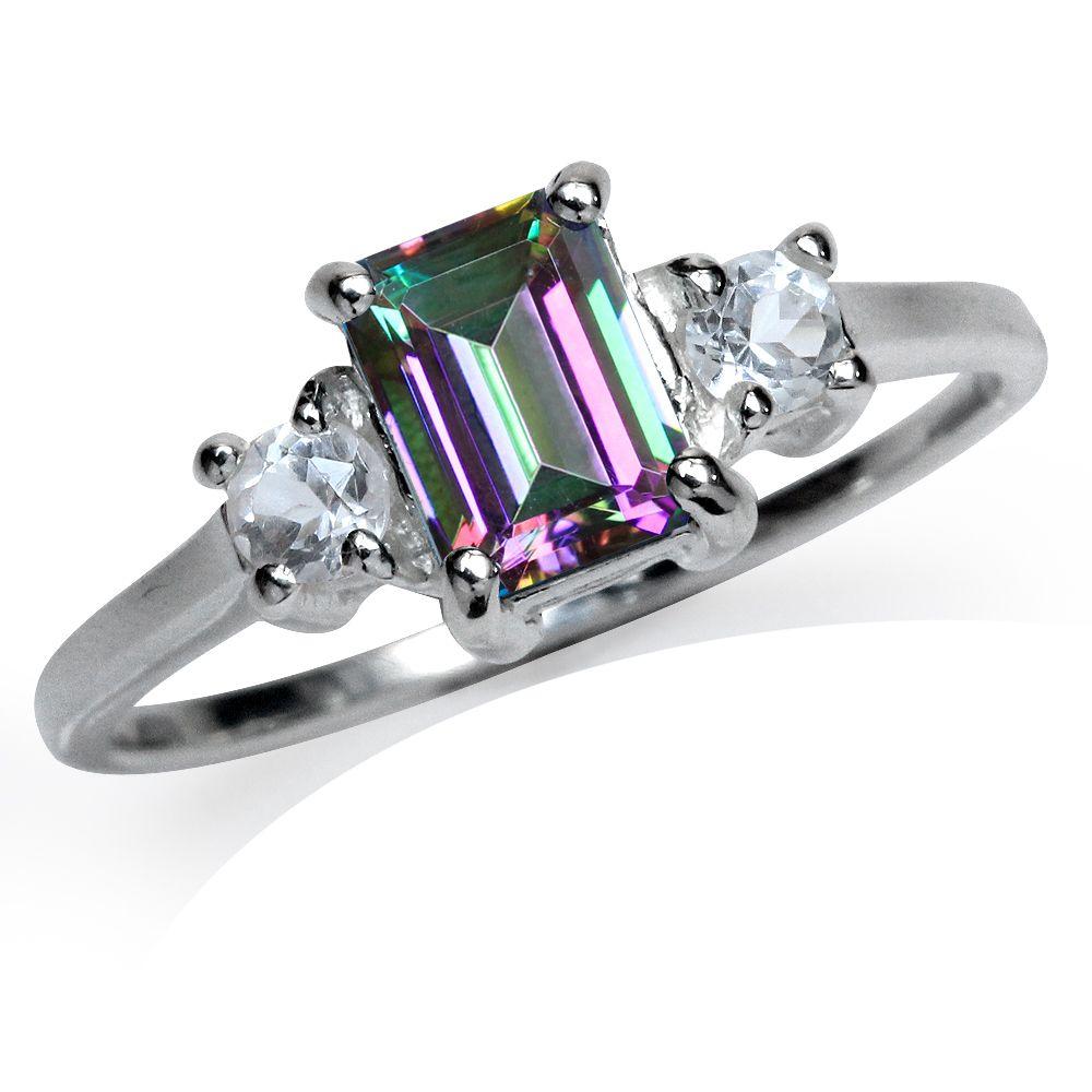 1.26ct. Mystic & White Topaz 925 Sterling Silver Engagement Ring RN0078826 SilverShake.com