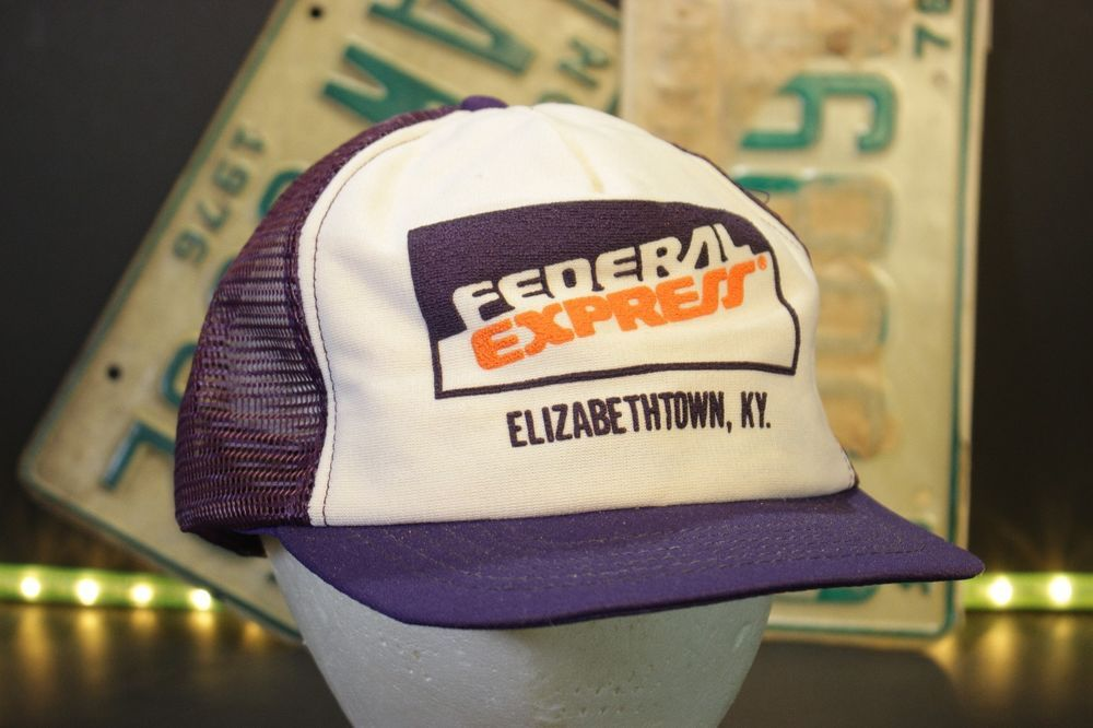 439abed48d3 Vintage Federal Express Trucker Hat Mesh Baseball Cap Snapback Purple USA  Made  FirstLine  Trucker