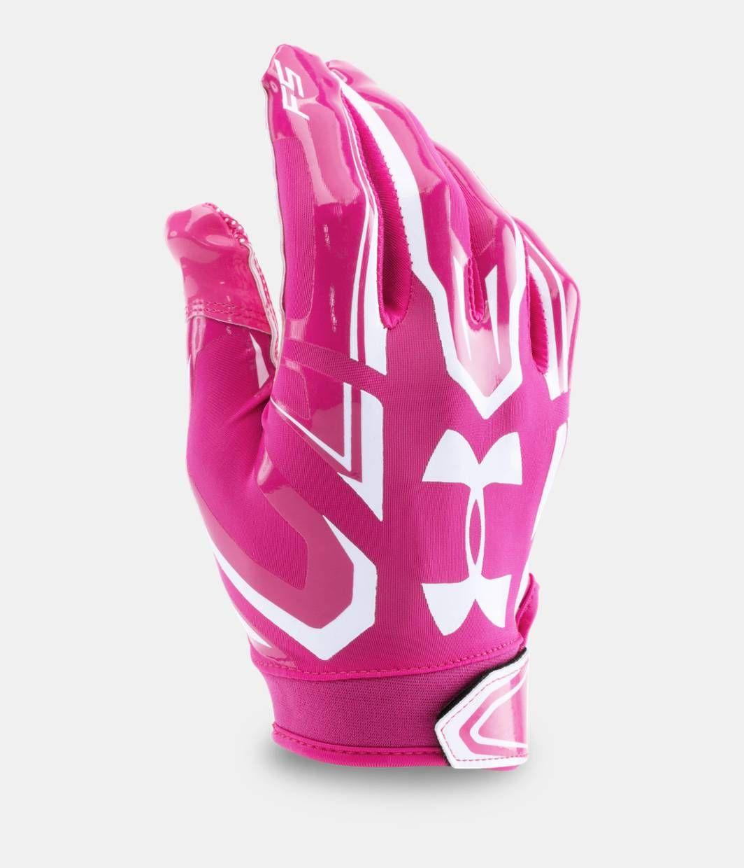Boys ua f5 football gloves under armour us pink