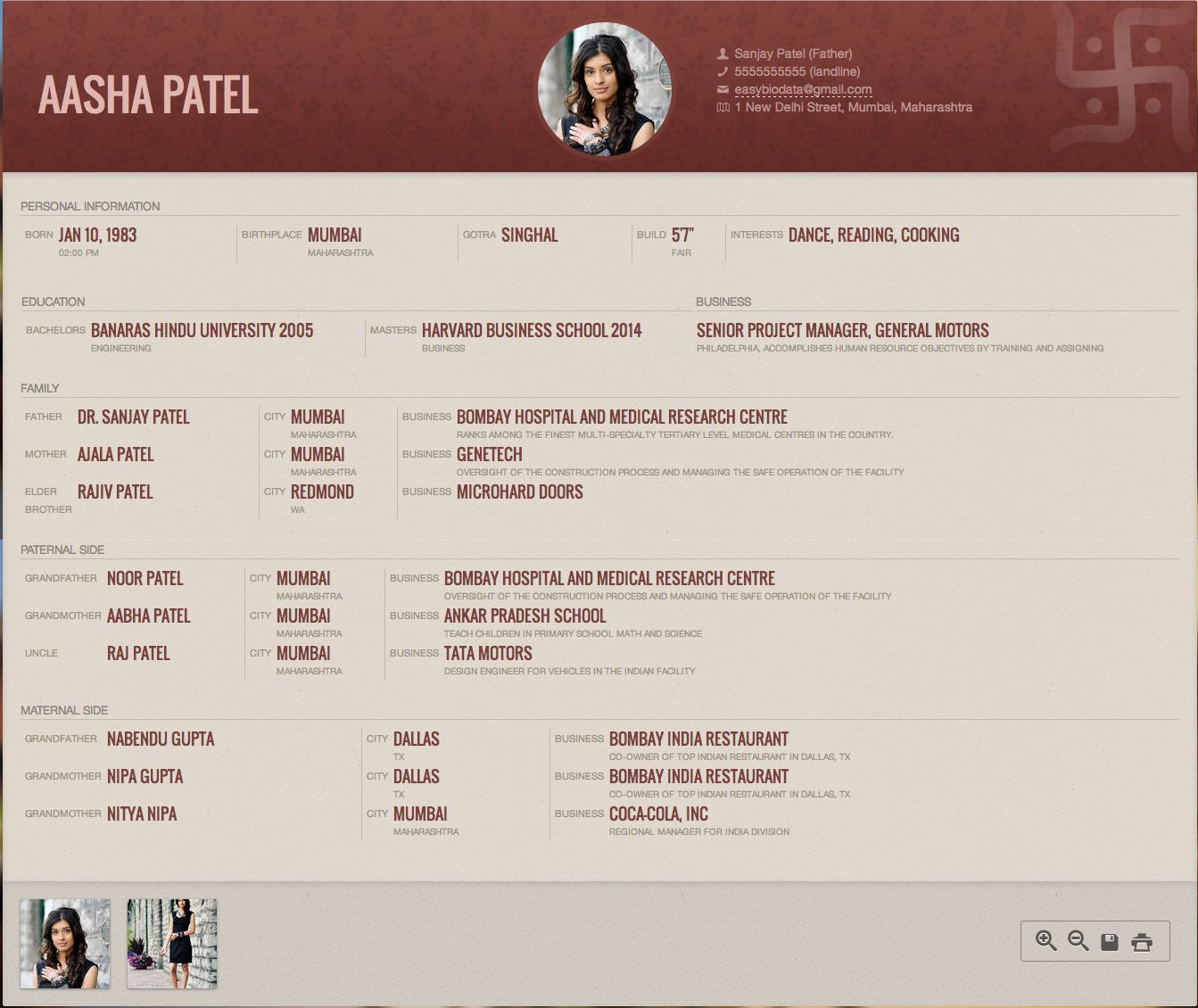Marriage Biodata Format created with
