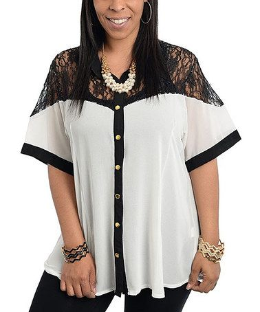 Another great find on #zulily! Ivory Lace Two-Tone Button-Up - Plus #zulilyfinds