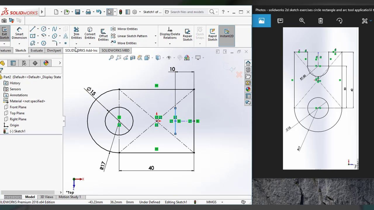 Plate Washer 2d Sketch Drawing Tutorial In Solidworks 2016 Solidworks Tutorial Solidworks Sketching Tools