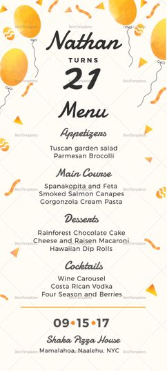 Birthday Party Menu Template Pinterest Birthday party menu, Menu - party menu template