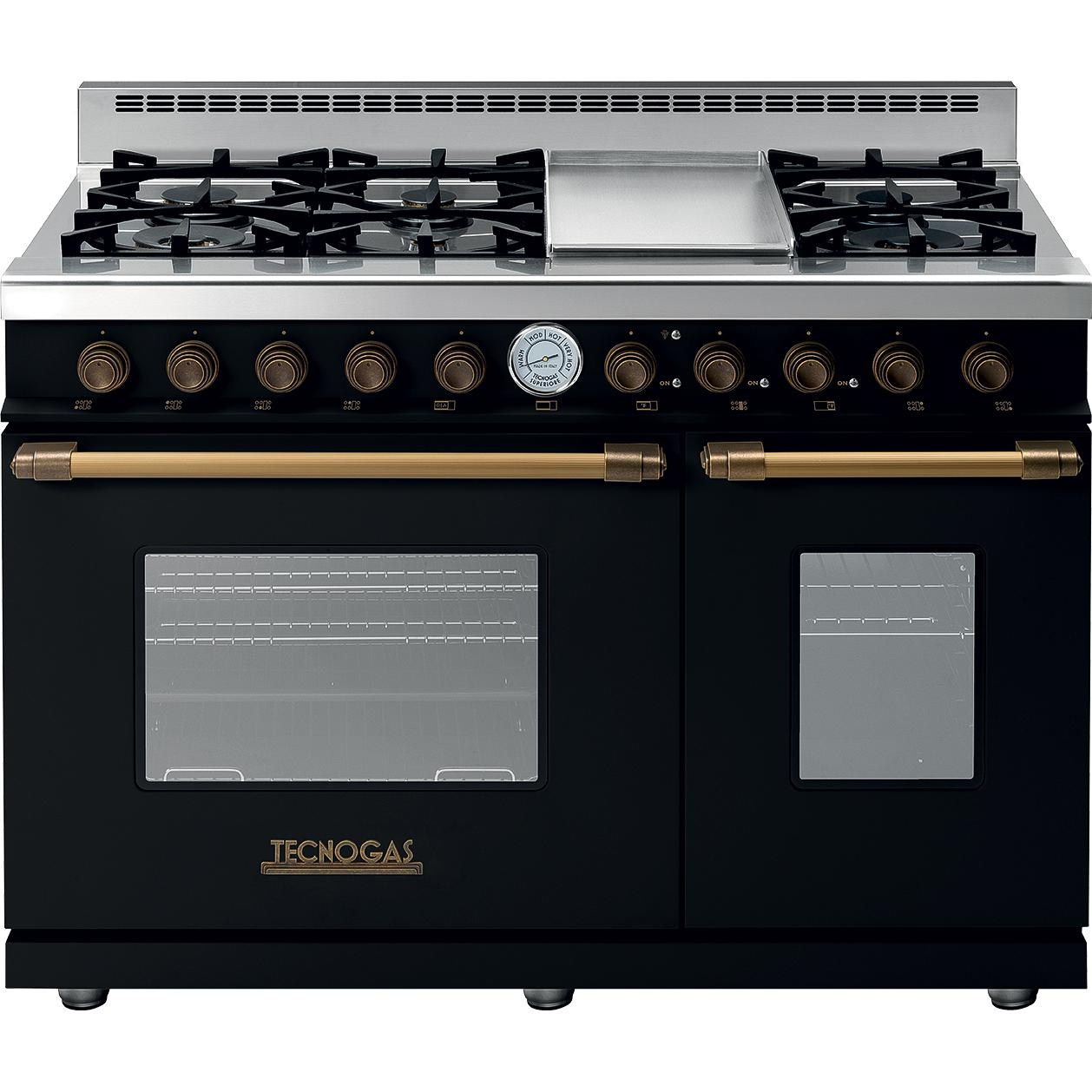 Tecnogas Superiore 48 Inch Deco Natural Gas Range With 6 Burners Griddle Black Br Rd482gcn B