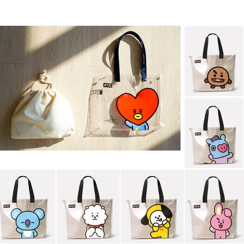 Official Authentic Limited Edition BT21 BTS Jin RJ Canvas Tote Crossbody Bag