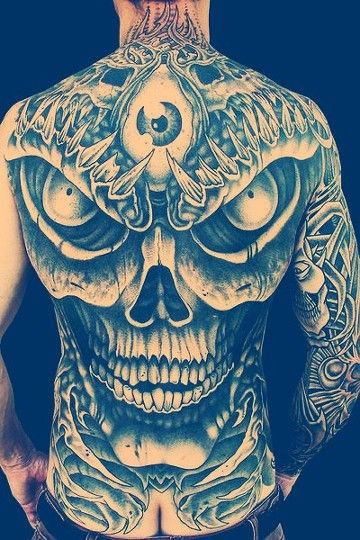 Back Piece Skull Tattoo Design Tattoo Designs Men Skull Tattoo