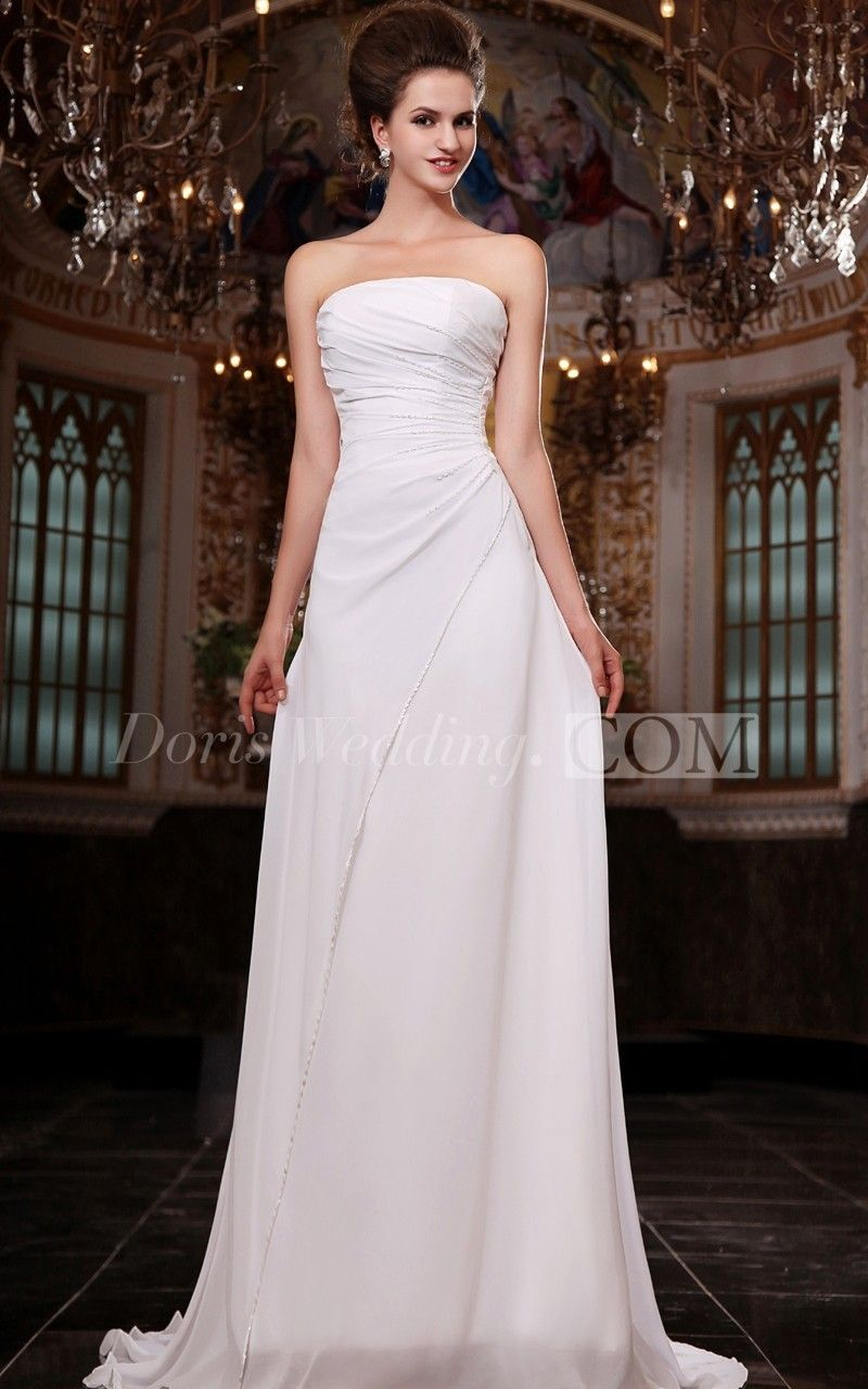 Fabulous Strapless Ruched Bust Side Dropping Chiffon