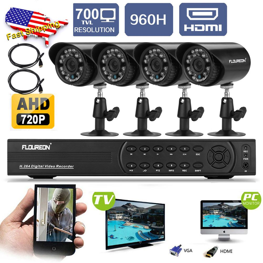 4CH 960H 720P DVR 4x Outdoor 700TVL CCTV Security Camera System + 2x HDMI Cables in Consumer Electronics, Home Surveillance, Surveillance Security Systems | eBay
