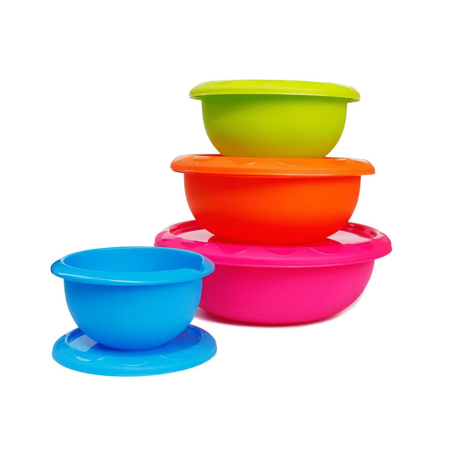 Honla Plastic Mixing Bowls With Lids Pour Spoutandcurved Lip 1 2 3 And 5 Quart Set Of 4 Blue Lime Green Orange Plastic Mixing Bowls Mixing Bowls Baking Storage
