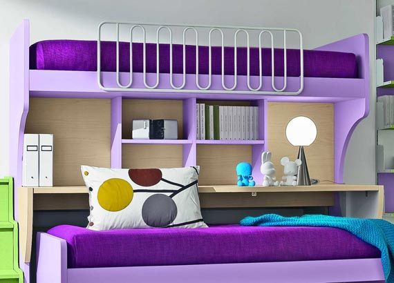 Bedroom Nice Picture Cool Kids Bunk Beds Colorful Design White Wall Purple Green Blue Color Small Storage Cute Cozy Designs Of