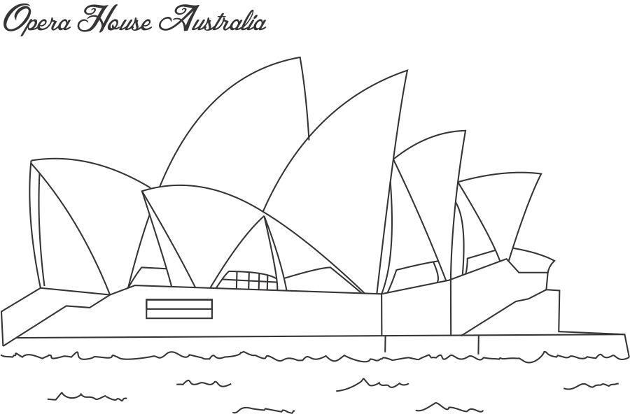 Sydney Operah House Coloring Pages Opera House Sydney Coloring Page For Kids House Drawing Coloring Pages Landmarks Art