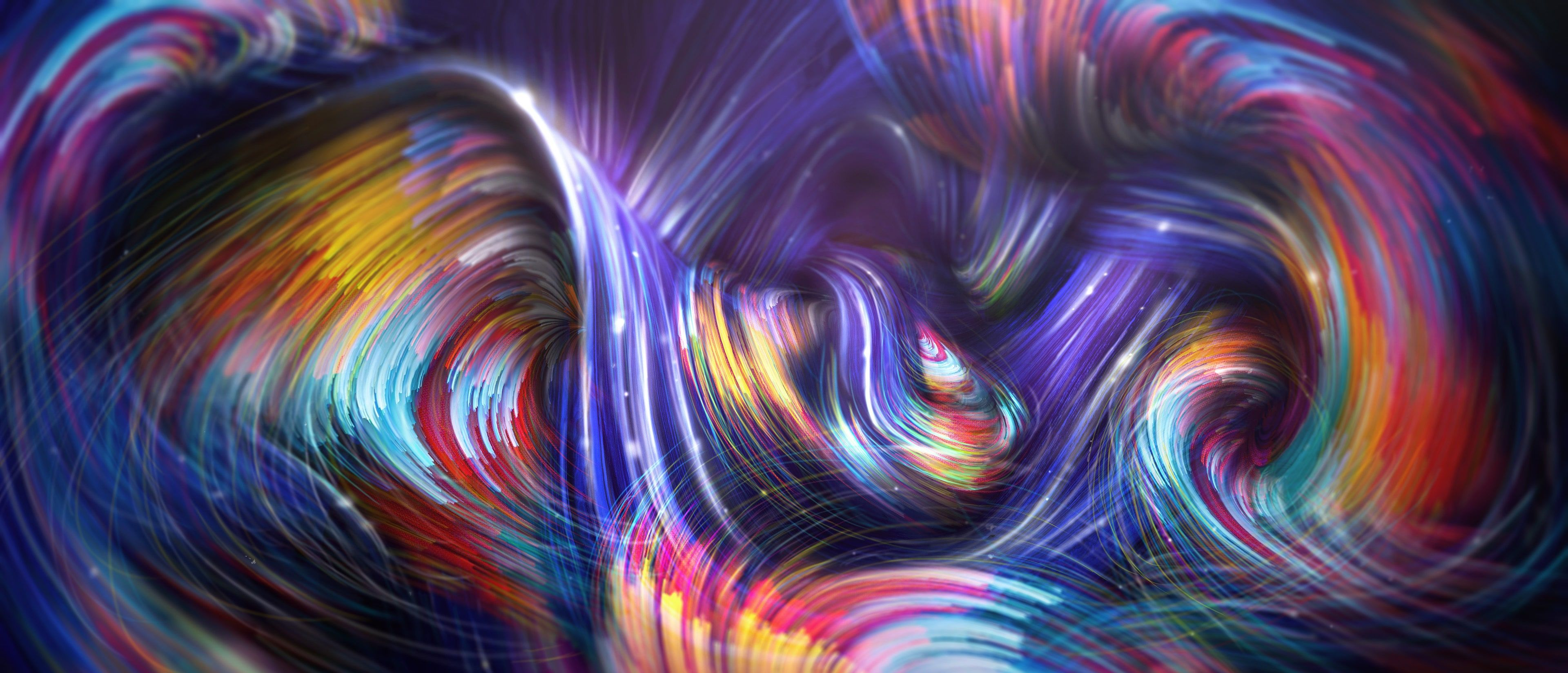 Waves Forces Colorful Paint 4k Abstract