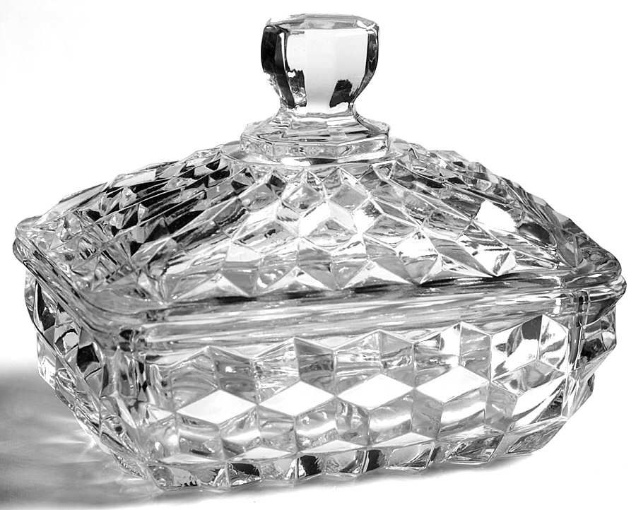 American clear stem 2056 soap box with lid by fostoria