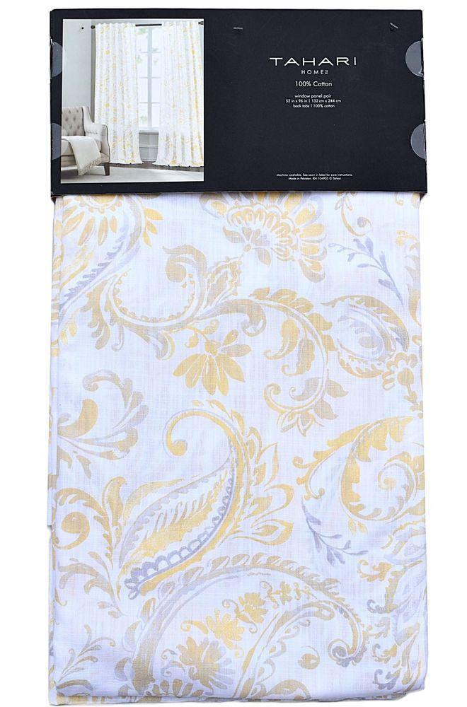Tahari Yellow Grey Floral Paisley 2pc Window Curtain Panels Pair