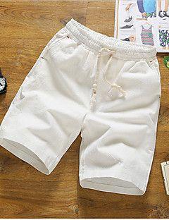 Masculino Simples Cintura Média Micro-Elástica Shorts Chinos Calças ... 65e5a9b1bcab1