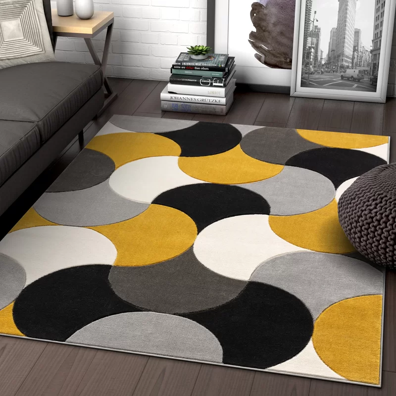 Helena Power Loom Gold Gray Black Rug Rugs In Living Room Grey And Yellow Living Room Yellow Living Room