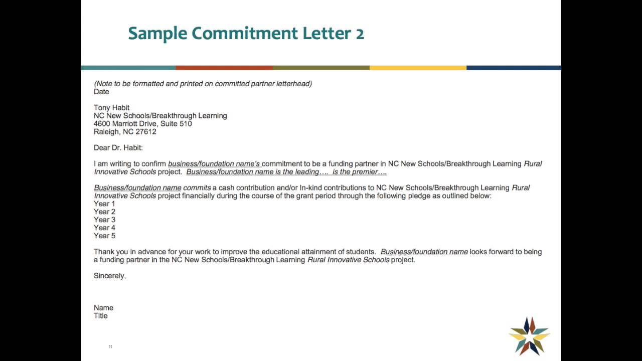 Fresh Commintment Letter Sample For You Lettering
