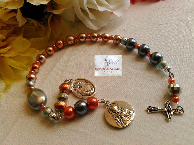 Catholic  Prayer Rosary 8mm Beads Acrylic Ivory White Rose Bead Shape