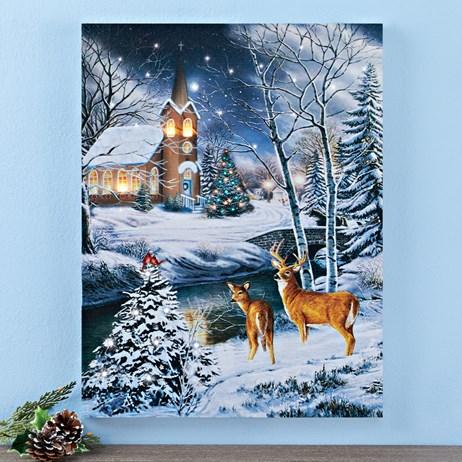 Lighted Wintery Church Scene Canvas Wall Art Collections Etc Canvas Wall Art Wall Canvas Wall Art