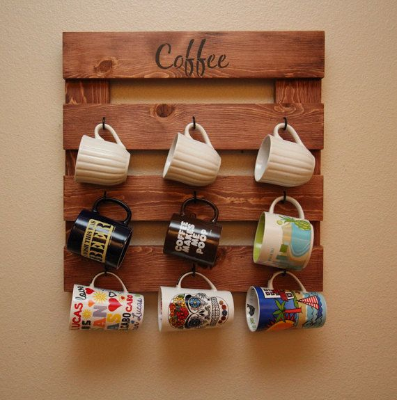 Coffee Mug Rack Coffee Mug Holder Rustic Wood Wall Storage Coffee Cup Wall Canecas Rusticas Decoracao Interior Facil Canecas