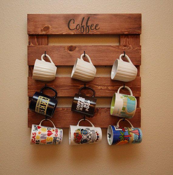 Coffee Mug Rack Holder Rustic Wood Wall Storage Cup