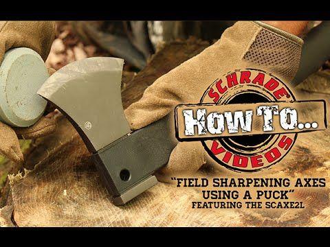 How To Field Sharpen An Axe Or Hatchet With A Puck Sharpening Stone Youtube Axe Sharpening Stone Hatchet