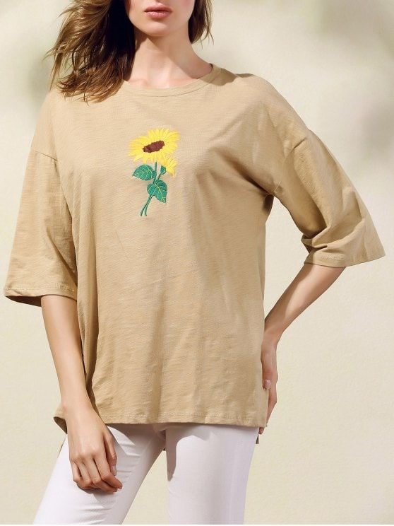 Sunflower Embroidery Round Neck 3 4 Sleeve T Shirt