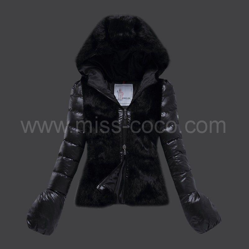 359 Black Rabbit Fur Hooded Short Moncler Jacket For Women With Fur