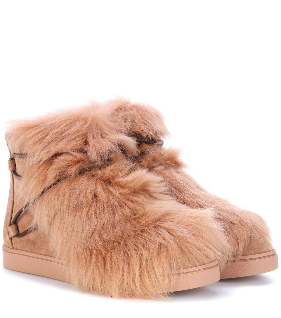 Gianvito Rossi Inuit fur-trimmed suede ankle boots L6LI2
