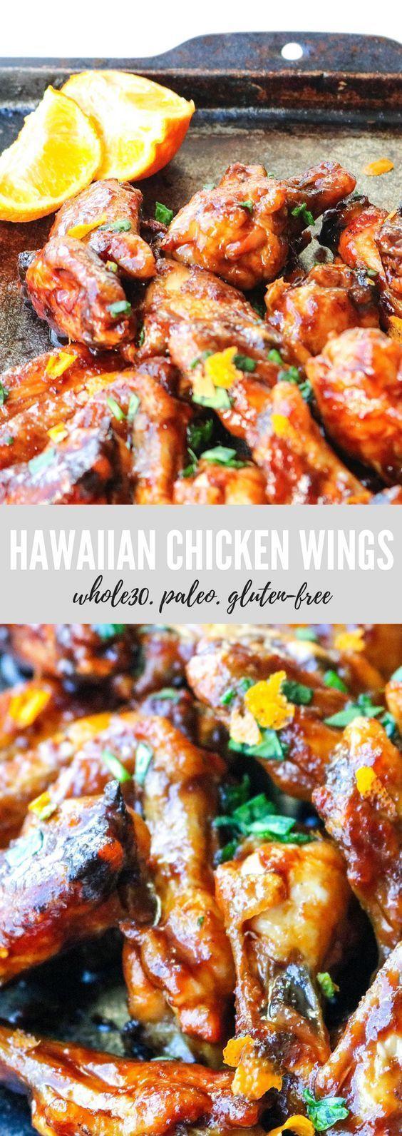 Whole30 Hawaiian Chicken Wings #hawaiianfoodrecipes