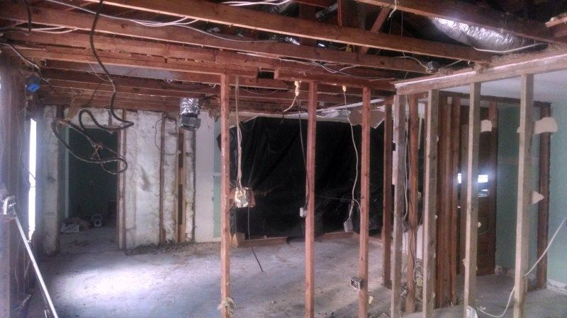 "Demo ceiling and insulation to prep for interior framing. Ceiling was sagged >1.5""  Nov 18"