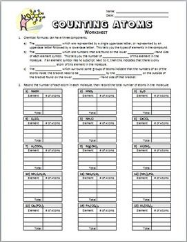 Counting Atoms Worksheet Editable Counting Atoms Counting