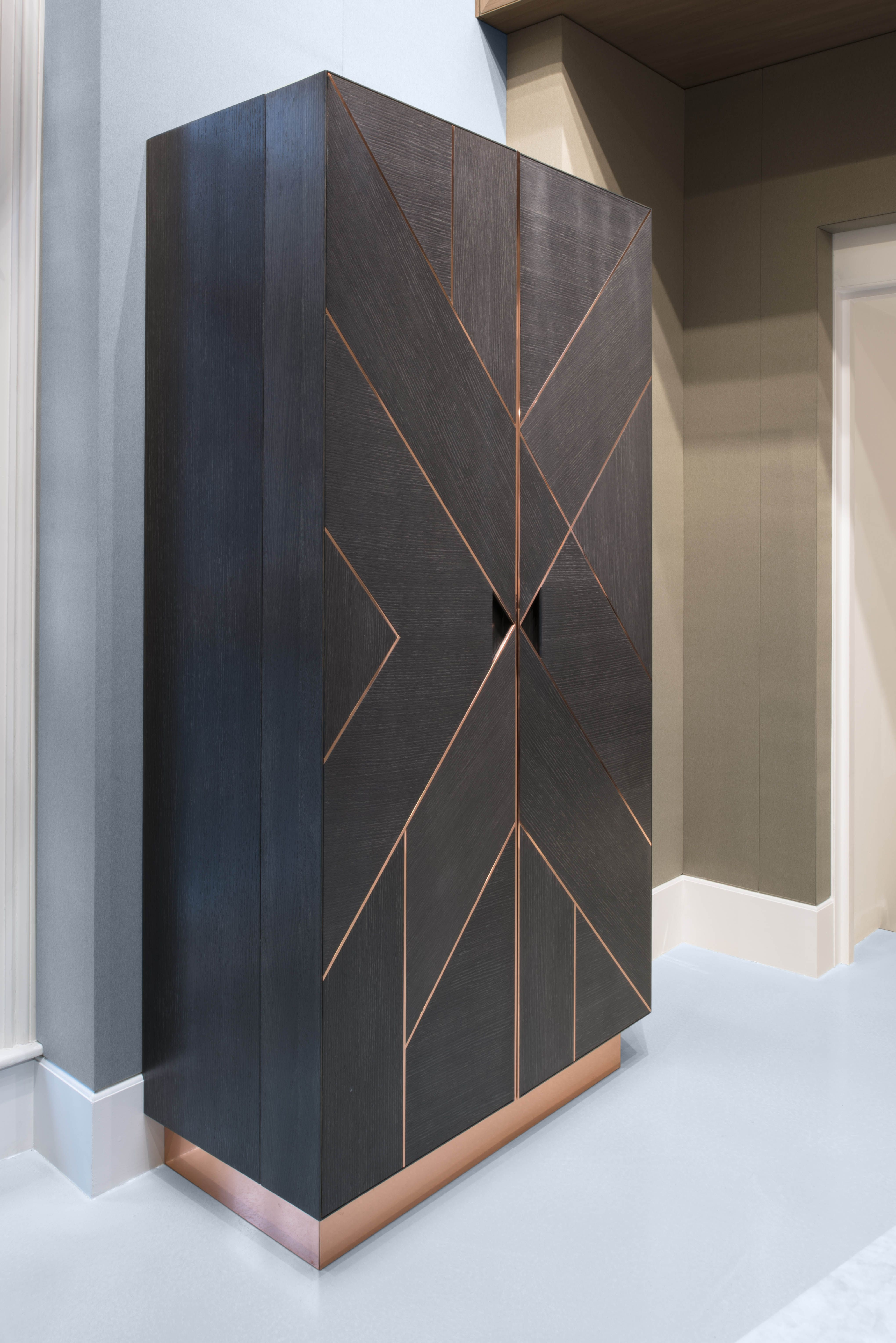 Geometric Copper Drinks Bar And Cabinet Dark Grey Sycamore