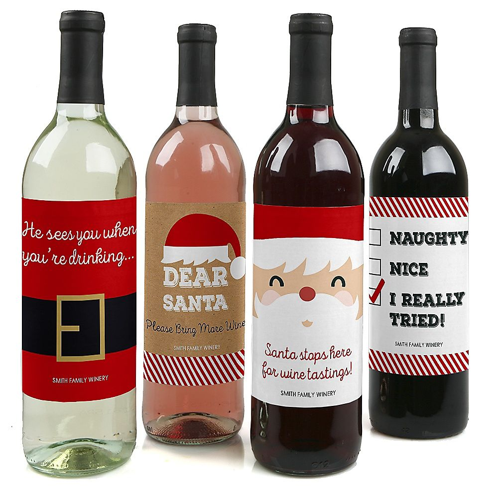 Funny Jolly Santa Claus Christmas Decorations For Women And Men Wine Bottle Label Stickers Set Of 4 Christmas Wine Bottle Labels Holiday Wine Bottle Labels Christmas Wine Bottles