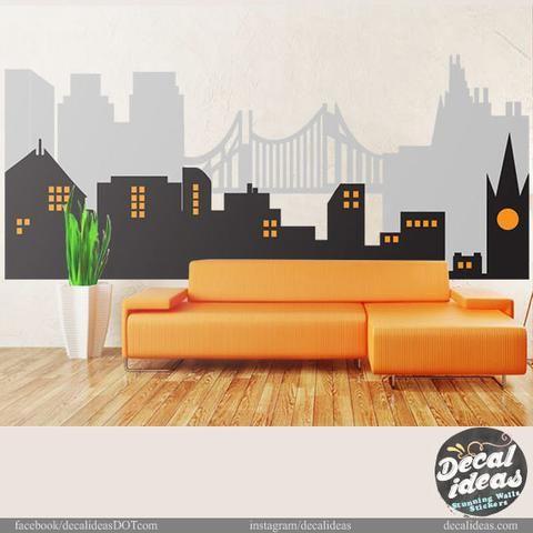 City Skyline, Superheroe Wall Mural, City Skyline Wall Decal, Vinyl Wall  Decals  Part 72