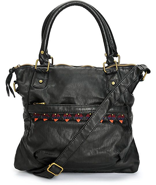 Make sure you have your bases covered in chic style with this sleek black faux leather crossbody purse that features embroidered and studded detailing and plenty of pocket space for all of your things.