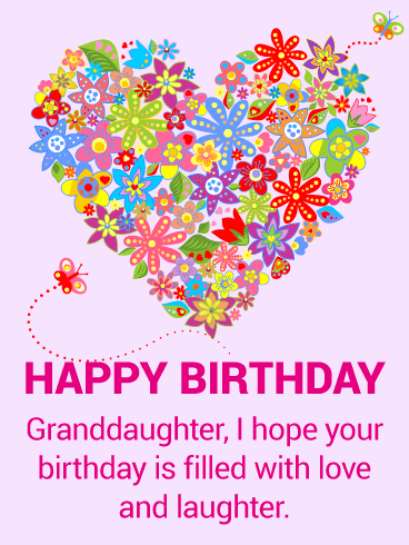 Colorful Flower Happy Birthday Card for Granddaughter Wishing
