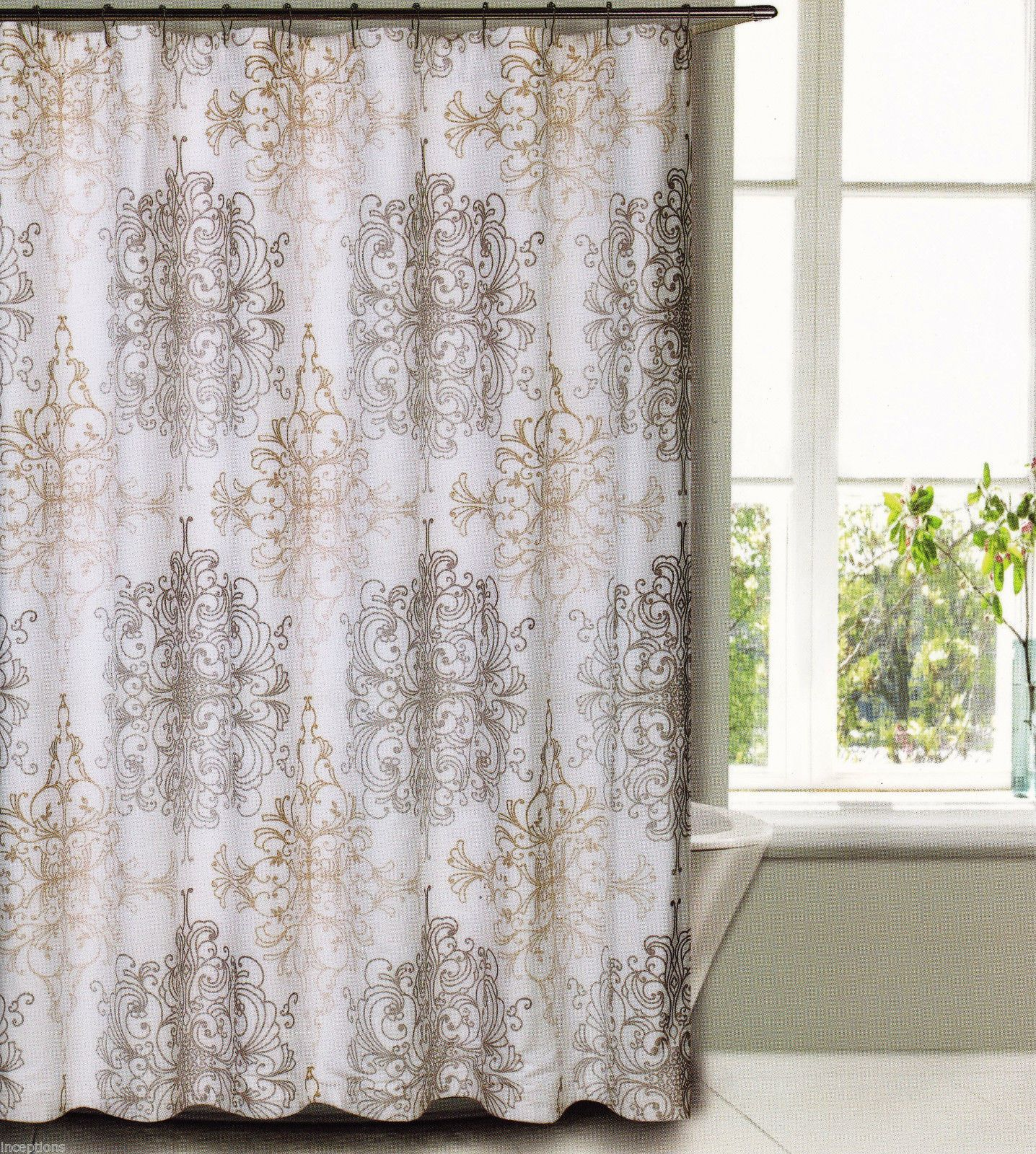 Tahari Fabric Cotton Blend Shower Curtain Milan Scroll Taupe Khaki