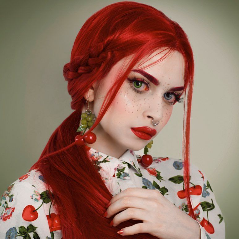Long Red Carnation Passion Synthetic Lace Front Wig Gallery